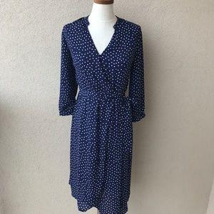 Collective Concepts Navy Blue Polka Dot Wrap Dress